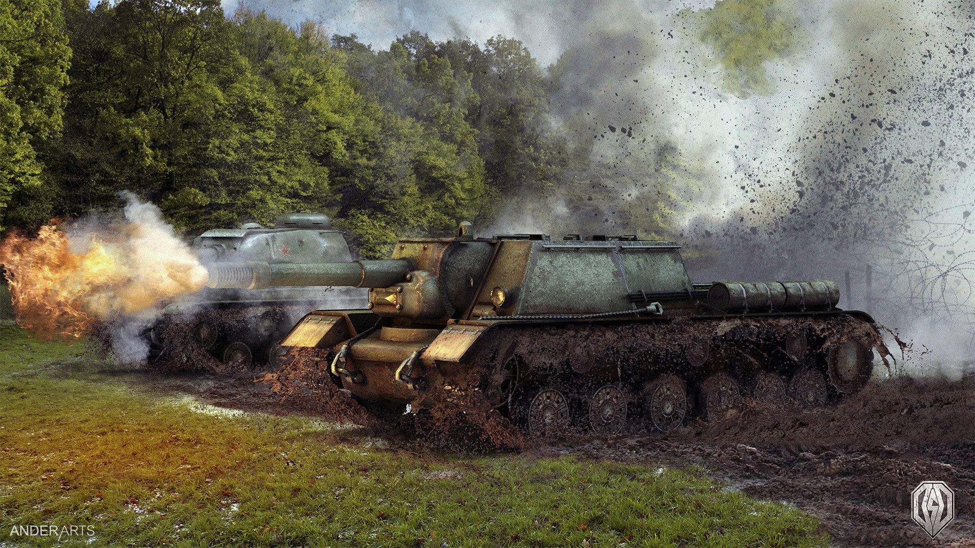 СУ 152 в бою: разгром противника